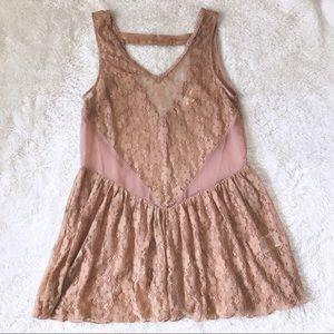 🌹A'Reve Floral Lace Peach Dress